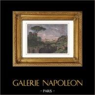 Vue de Rome - Mont Palatin - Ruines des Palais Impériaux (Italie) | Gravure sur bois originale. Anonyme. Aquarellée à la main. 1877