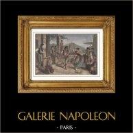 Vue de Naples - La Tarentelle - Danse Traditionnelle (Italie)   Gravure sur bois originale dessinée par C. Maurand. Aquarellée à la main. 1877