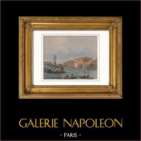 Vue de l'Ile de Malte - Bateau de Pêche | Aquarelle sur papier originale. Anonyme. 1910