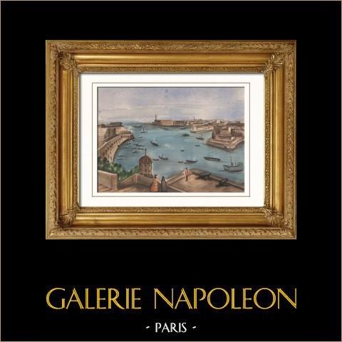 Vue de l'Ile de Malte - La Valette - Port | Aquarelle sur papier originale. Anonyme. 1910