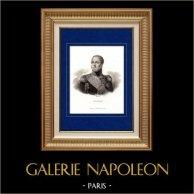 Portrait de Edouard Mortier (1768-1835) - Maréchal d'Empire et Général de Napoléon | Gravure sur acier originale dessinée par Fauchery. 1840