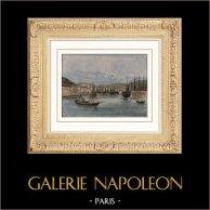 Vue du Port de Nice (Provence-Alpes-Côte d'Azur - France)  | Gravure aquarellée à la main gravée par Dosso. 1885