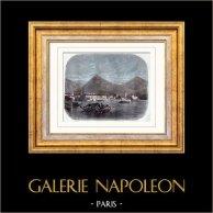 Gardasjön - Riva del Garda - Alperna (Italien) | Original trästick efter teckningar av Grandsire. Akvarell handkolorerad. 1884