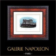 Castello di Saumur (Maine-et-Loire - Francia) - Monumento Storico | Incisione su acciaio originale disegnata da Rauch, incisa da Schroeder. Acquerellata a mano. 1840