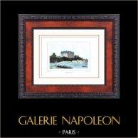 Château de Chaumont-sur-Loire (Loir-et-Cher - France) - Monument Historique | Gravure sur acier originale dessinée par Rauch, gravée par Nyon jeune. Aquarellée à la main. 1840