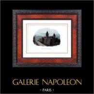Castello di Blain - La Groulais (Loira Atlantica - Francia) - Monumento Storico | Incisione su acciaio originale disegnata da Rauch, incisa da Devilliers. Acquerellata a mano. 1840