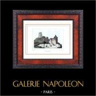 Château de Lavardin (Loir-et-Cher - France) - Monument Historique - Ruines | Gravure sur acier originale dessinée par Rauch, gravée par Nyon jeune. Aquarellée à la main. 1840