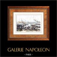 Napoleonkrigen - Egypten - Belägring Akko (1799)  | Original stålstick efter teckningar av Martinet, graverade av Reville. Akvarell handkolorerad. 1835
