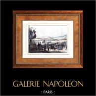 Guerres Napoléoniennes - Napoléon Bonaparte - Revue militaire au Camp de Boulogne (1804) | Gravure sur acier originale dessinée par Martinet, gravée par Massard. Aquarellée à la main. 1835