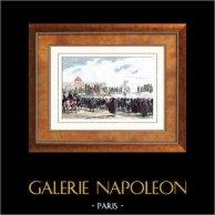 Lazare Hoche - Generale Francese - Rivoluzione Francese - Ceremonia Funebre (1797) | Incisione su acciaio originale disegnata da Martinet, incisa da Réville. Acquerellata a mano. 1835