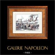 Guerre napoleoniche - Battaglia di Ratisbona (1809) - Napoleone fu Ferito | Incisione su acciaio originale disegnata da Martinet, incisa da Couché. Acquerellata a mano. 1835