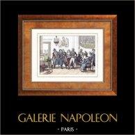 Rivoluzione Francese - Incontro di Marat ed di Dumouriez (16 ottobre 1792) - Bourbotte - Convenzione Nazionale | Incisione su acciaio originale disegnata da Martinet, incisa da Lacauchie. Acquerellata a mano. 1835