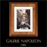 Alperna - Simplonpasset - Napoleon Bonaparte | Original stålstick efter teckningar av Martinet, graverade av Lacauchie. Akvarell handkolorerad. 1835