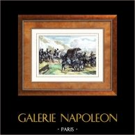 Napoléon Rend Hommage au Courage Malheureux - Capitulation d'Ulm - Guerres Napoléoniennes (20 octobre 1805) | Gravure sur acier originale gravée par Massard. Aquarellée à la main. 1835