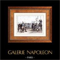 Napoléon Bonaparte - Attentat de Schoenbrunn (1809) | Gravure sur acier originale dessinée par Martinet, gravée par Réville. Aquarellée à la main. 1835