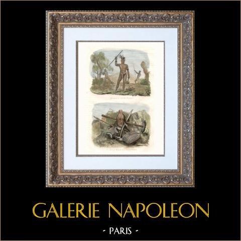 Nouvelle-Calédonie - Guerriers - Armes et Ustensiles | Gravure sur acier originale dessinée par Louis Auguste de Sainson. Aquarellée à la main. 1835