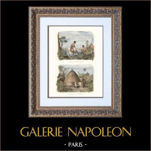 Nouvelle-Calédonie - Kanak - Canaque - Femme et Habitation | Gravure sur acier originale. Anonyme. Aquarellée à la main. 1835