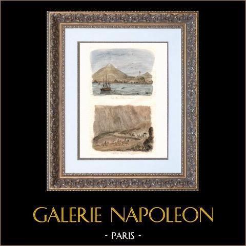 Isla Ascensión - Sandy Bay - William Dampier | Original acero grabado dibujado por Louis Auguste de Sainson, grabado por Jules Boilly. Agua-coloreado a mano. 1835