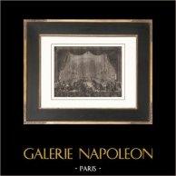 Franska Revolutionen - Livvakter Bankett i Opera av Versailles (1789) | Original kopparstick efter teckningar av Prieur, graverade av Gysin. Papper med vattenstämpel. 1818