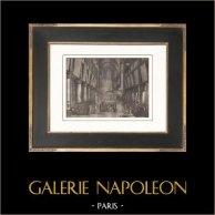Rivoluzione Francese - Bandiere - Guardia Nacionale - Cattedrale di Notre-Dame di Parigi | Incisione su rame originale disegnata da Prieur, incisa da Gleich. Carta filigranata. 1818