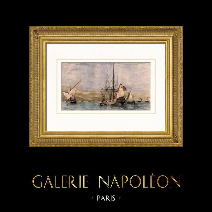 Gravures Anciennes & Dessins | Bateau - Voilier - Navire - Vaisseau Français - Différents Batiments de la Méditerranée | Taille-douce | 1837