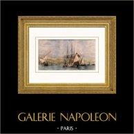 Bateau - Voilier - Navire - Vaisseau Français - Différents Batiments de la Méditerranée | Gravure sur acier originale dessinée par Garneray, gravée par Leleux. Aquarellée à la main. 1837