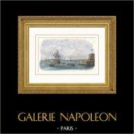Marina Francesa - Escuela Naval -  Nave escuela de Brest (Francia) | Original acero grabado grabado por Thevenon. Agua-coloreado a mano. 1837