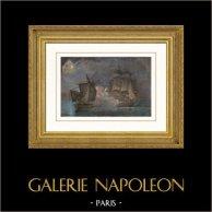 Kampf der Französisch Fregatte La Venus gegen die Englisch Fregatte Le Ceylan (1809) - Napoleon I. | Original stahlstich gezeichnet von Gilbert, gestochen von Chavane. Handaquarelliert. 1837