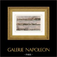 Panorama di Le Havre - Havre de Grâce (Senna Marittima - Seine-Maritime - Francia) | Incisione su acciaio originale disegnata da Garneray, incisa da Strutt. Acquerellata a mano. 1837
