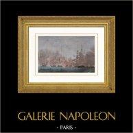 Bataille navale de Navarin (20 octobre 1827) - Empire Ottoman - Guerre d'indépendance grecque (Garneray) | Gravure sur acier originale dessinée par Garneray, gravée par Pardinel. Aquarellée à la main. 1837