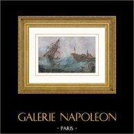 Veleiro - Tempestade - Naufrágio perto de Saint-Nazaire (Loire-Atlantique - França) | Gravura em metal aço original desenhada por Perrot, gravada por Ales. Aquarelada a mão. 1837
