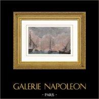 Batattaglia Navale di Arromanches (1811) - Cannoniere Francese vs Navi Inglese | Incisione su acciaio originale disegnata da Morel-Fatio, incisa da Pardinel. Acquerellata a mano. 1837