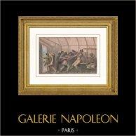 Bagarre Nocturne aux Antilles | Gravure sur acier originale dessinée par Masson, gravée par Masson. Aquarellée à la main. 1837