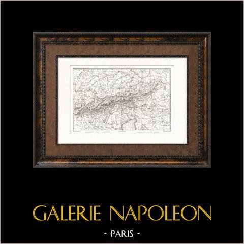Mapa de Alpes - Europa | Original acero grabado dibujado por Dufour, grabado por Dyonnet. 1859