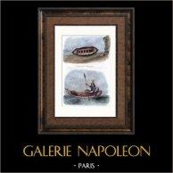 Canot de Sauvetage - Le Balsa | Gravure sur acier originale dessinée par Ales. Aquarellée à la main. 1838
