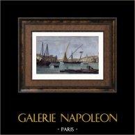 Vue de Alger - Le Port (Algérie - Afrique du Nord) | Gravure sur acier originale dessinée par Morel-Fatio, gravée par Pardinel. Aquarellée à la main. 1838