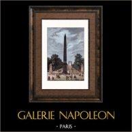 Obelisco de Luxor - Place de la Concorde - Plaza de la Concordia - Vista desde l'Avenida de los Champs-Élysées (Paris - Francia) | Original acero grabado. Anónimo. Agua-coloreado a mano. 1838