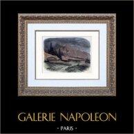 Peinture - Paysage des Alpes - Chalets de la Handeck - Suisse - XIXème Siècle (Alexandre Calame) | Gravure sur bois originale gravée par Quichon. Aquarellée à la main. 1850