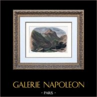 Landschaft - La Pointe de Sales - Berggipfel von Sales - Kalkalpen - Haute-Savoie (Frankreich) | Original holzstich gezeichnet von Calame nach Töpffer. Handaquarelliert. 1850