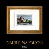 Castello Gaillard - Fortezza medievale - Ruderi (Eure - Francia)  | Incisione su acciaio originale disegnata da Rauch, incisa da Ransonnette. Acquerellata a mano. 1834