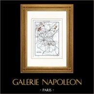 Mappa - Nei paraggi di Lille (Nord - Francia)   Incisione su acciaio originale disegnata da Monin, incisa da Laguillermie & Ramboz. Acquerellata a mano. 1834
