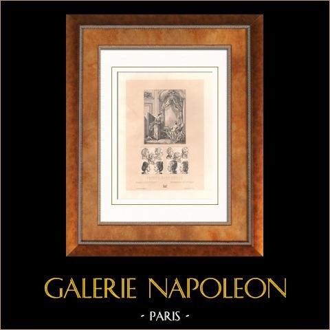 Moda Francesa - Francia - Siglo 18 - Siglo XVIII - Pelucas de mujeres y niños | Original litografia. Anónimo. 1876