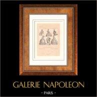 Französische Mode - Frankreich - 18. Jahrhundert - XVIII. Jahrhundert - Adel - Bürgerlichen - Abendkleid - Frisieren - Coiffure à la Victoire | Original lithographie. Anonyme. 1876
