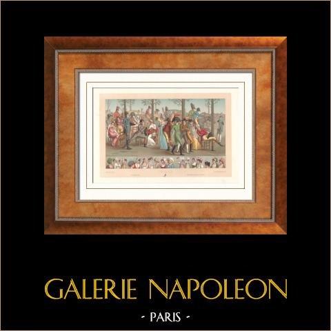 Moda Francese - Regno di Napoleone Bonaparte - Consolato - 1803 - Giretto ad Longchamp - Parigi | Litografia originale incisa da Urrabietta. 1876