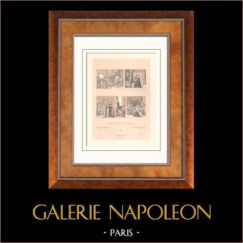 Traje histórico - Europa - Nobleza - Escena de la vida cotidiana - Siglo 17 - Siglo XVII | Original litografia dibujado por St Elme Gautier. 1876