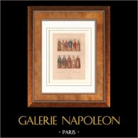 Modes et Costumes - Europe - Moyen Age - 15ème Siècle - XVème Siècle - Clergé - Evêque - Prêtre   Lithographie originale gravée par Lestel. 1876