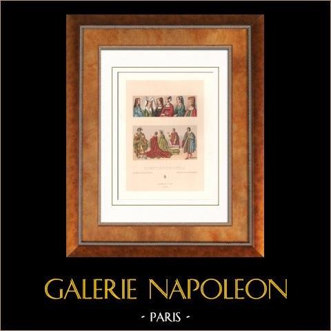 Moda Francesa y Trajes - Siglo XV - Siglo XVI - Mujeres - Tocado | Original litografia grabado por Durin. 1876