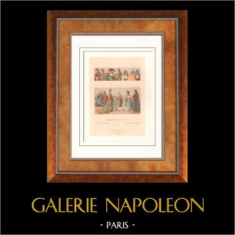 Modes et Costumes - Europe - Dame de la cour - Manteau - Cérémonie - XVème Siècle - XVIème Siècle | Lithographie originale gravée par Chataignon. 1876
