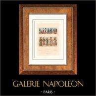 Moda e Costumi - Francia - Medioevo - Guerra - Corte Reale - Clero - Gentleman - Musicista | Litografia originale incisa da Lestel. 1876