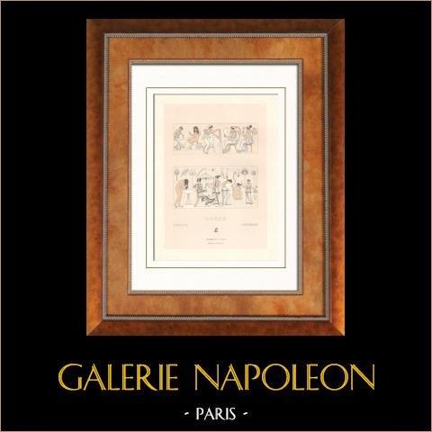 Grèce antique - Objets de toilette - Femme - Eventail - Flabellum - Miroir | Lithographie originale gravée par Massias et Vallet. 1876